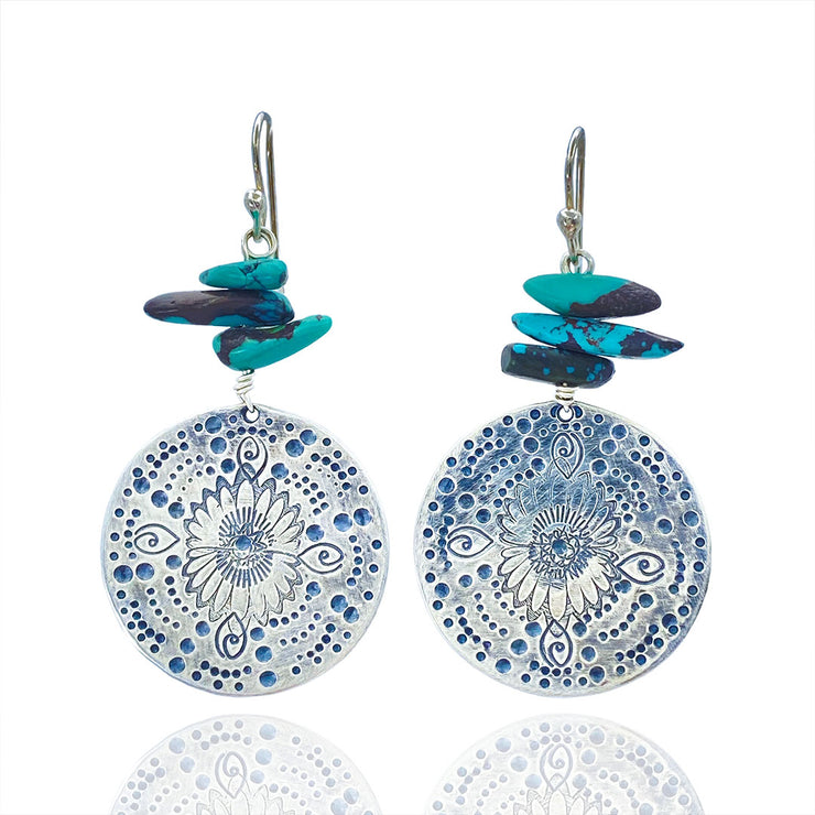 Turquoise Beaded Sterling Silver Stamped Medallion Earrings