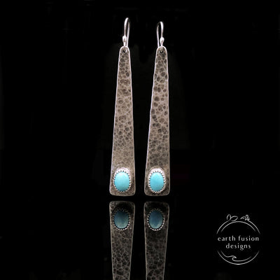 Turquoise Sterling Silver Triangle Earrings
