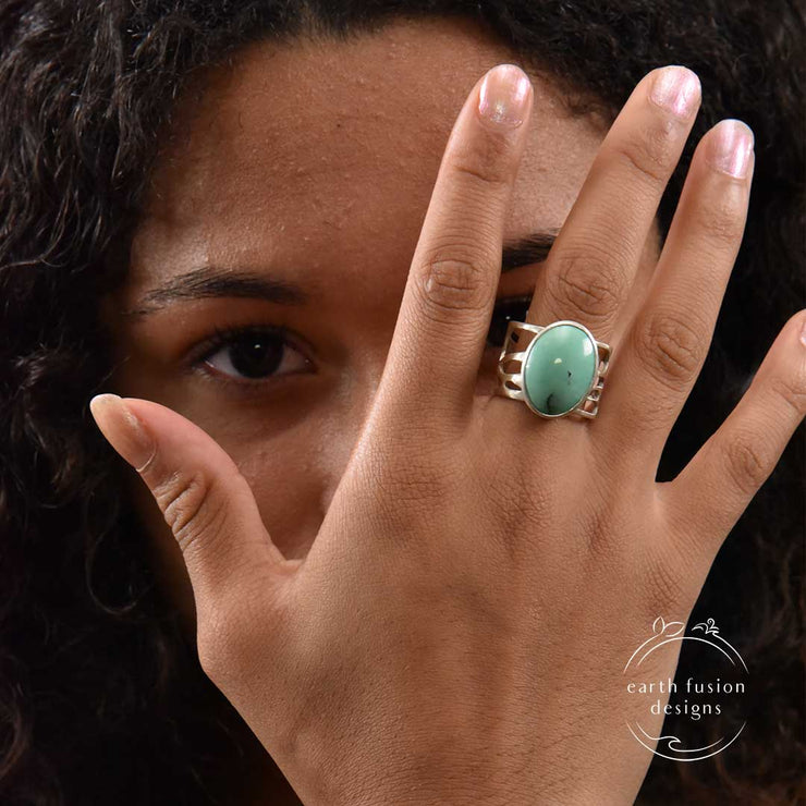 Turquoise and Sterling Silver Organic Pebble Ring on Model's Finger