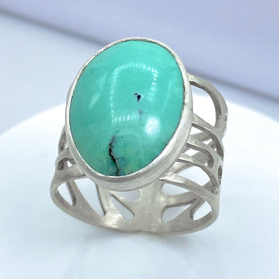 Turquoise and Sterling Silver Organic Pebble Ring