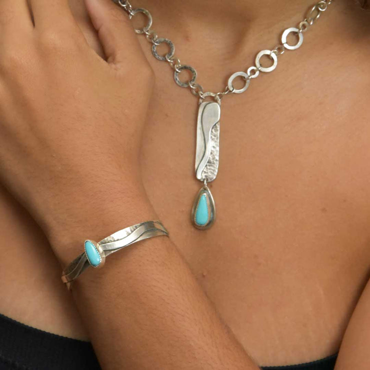 Turquoise and Sterling Silver River Cuff Bracelet