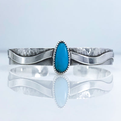 Turquoise and Sterling Silver River Cuff