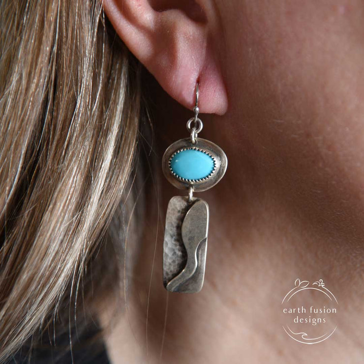 Turquoise and Sterling Silver River Earrings on Model