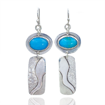 Turquoise and Sterling Silver River Earrings