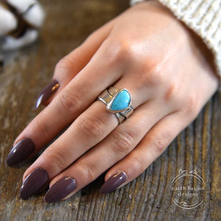 Turquoise and Sterling Silver River Ring on Model