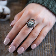 Variscite and Sterling Silver Bark Ring on Model's Hand