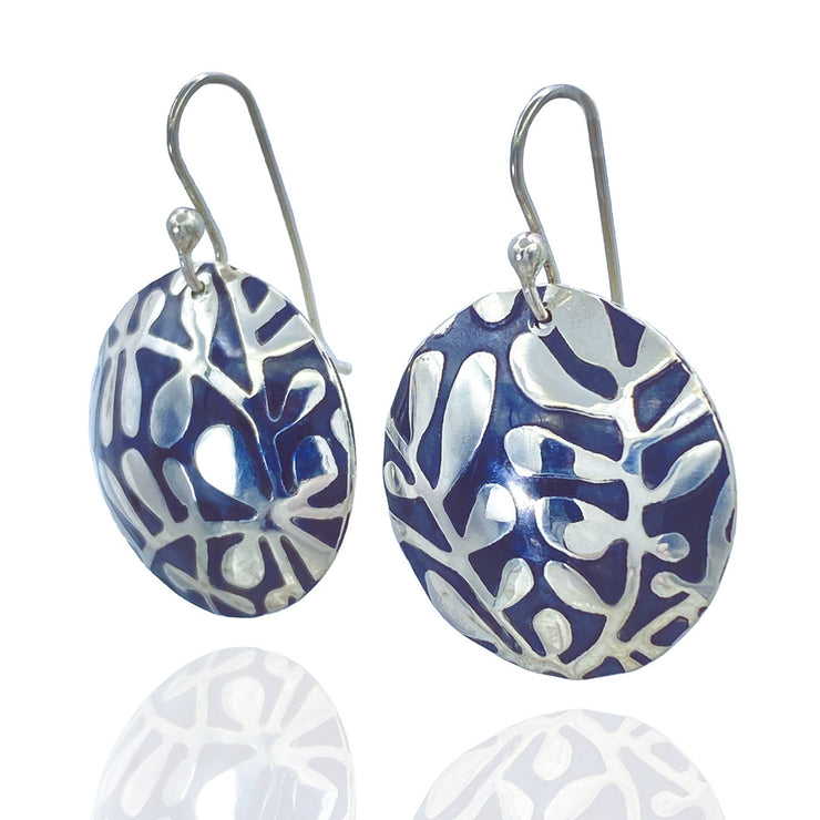 Sterling Silver Modern Vine Textured Domed Medallion Earrings three quarter view