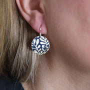 Sterling Silver Modern Vine Textured Domed Medallion Earrings on Model