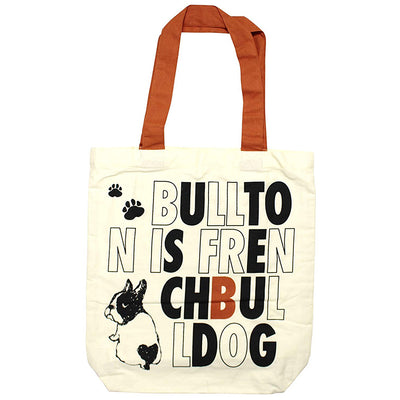 photo of the FRIENDS HILL Tote Bag Light Bullton Dog Pug Frenchie Design A4 Size  39×38cm