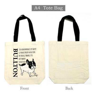 Tote Bag Bullton Dog Pug Frenchie Design Times A4 Size  39×38cm