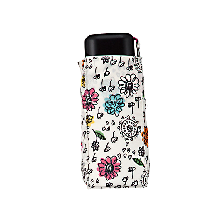 Folding Umbrella with Graffiti Flower Patterns - 47cm
