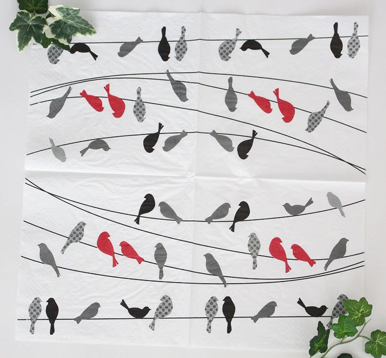 Paper Napkin (3-Ply ) with Sparrow Patterns 33 x 33cm - 20 Pieces