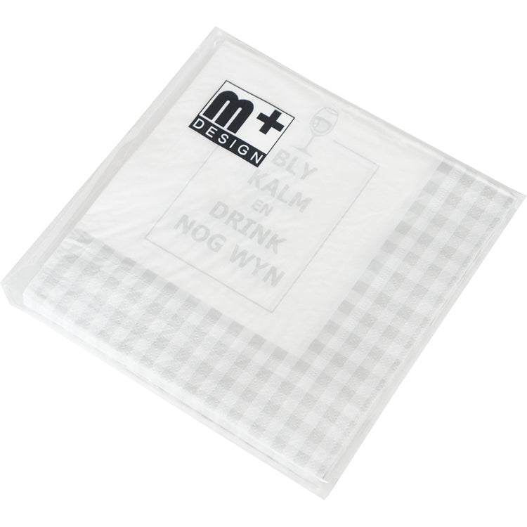 Paper Napkin (3-Ply ) with Grey Checkers Patterns 33 x 33cm - 20 Pieces