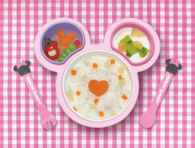 Disney Minnie Mouse Baby Food Weaning Tableware Set Easy-To-Hold Self-Feeding Utensils With Carry-Along Lids