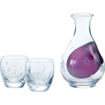Photo of the TOYO-SASAKI GLASS Cold Sake Set Purple Sake Bottle 290ml, 100ml Cup Wine Glass Collection Setsugekka