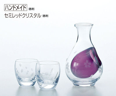 * Cold Sake Set Purple Sake Bottle 290ml, 100ml Cup Wine Glass Collection Setsugekka