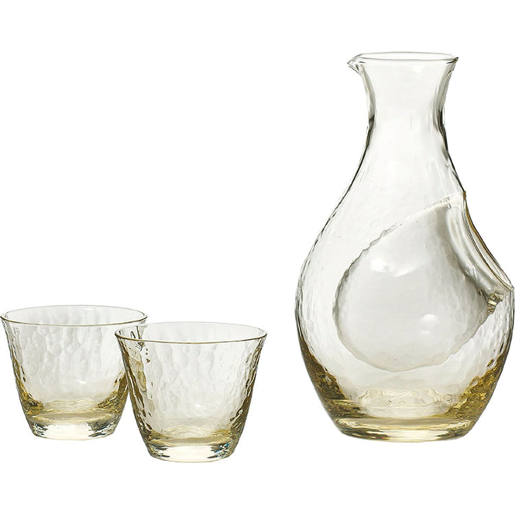 * Clear Amber Glass Cold Wine Set - 3 Pieces