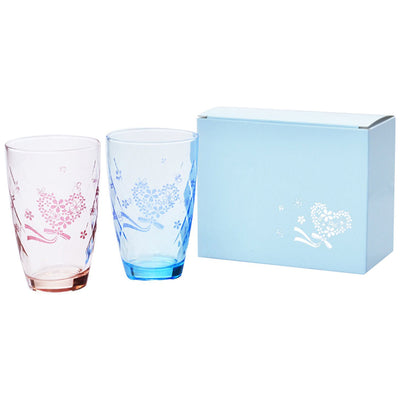 Heart Bouquet Pair 2pc Set Tumbler Tall Glass Set Gift Box Included (Capacity 355ml×2 Pieces) Pink・Blue G090-T245 [Dishwasher Safe]