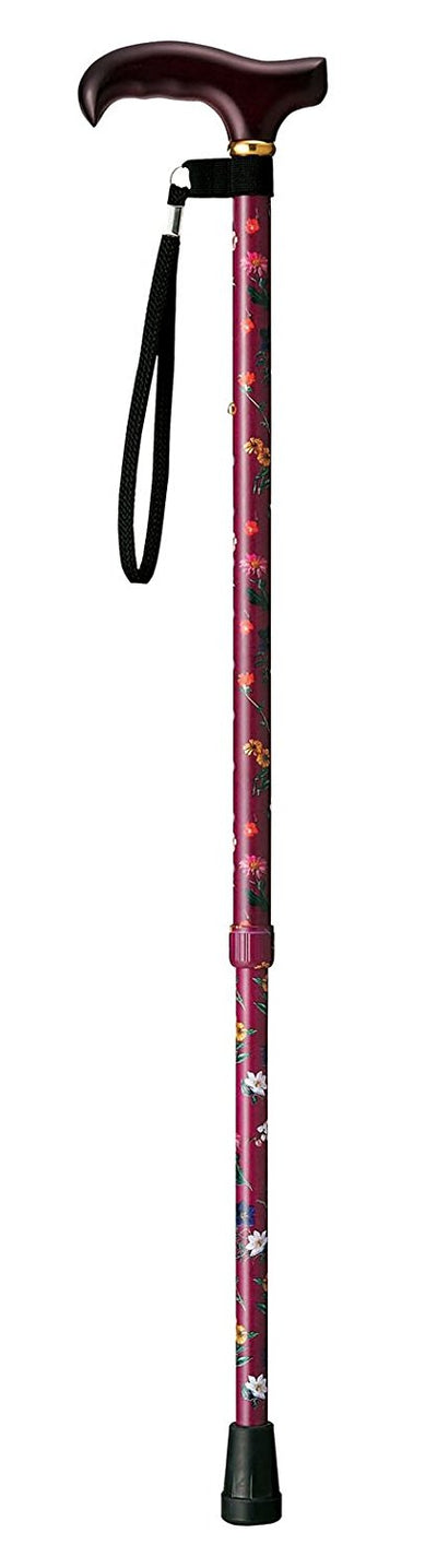 Cane Cane Telescopic Walking Stick Floral Wine Ep-108