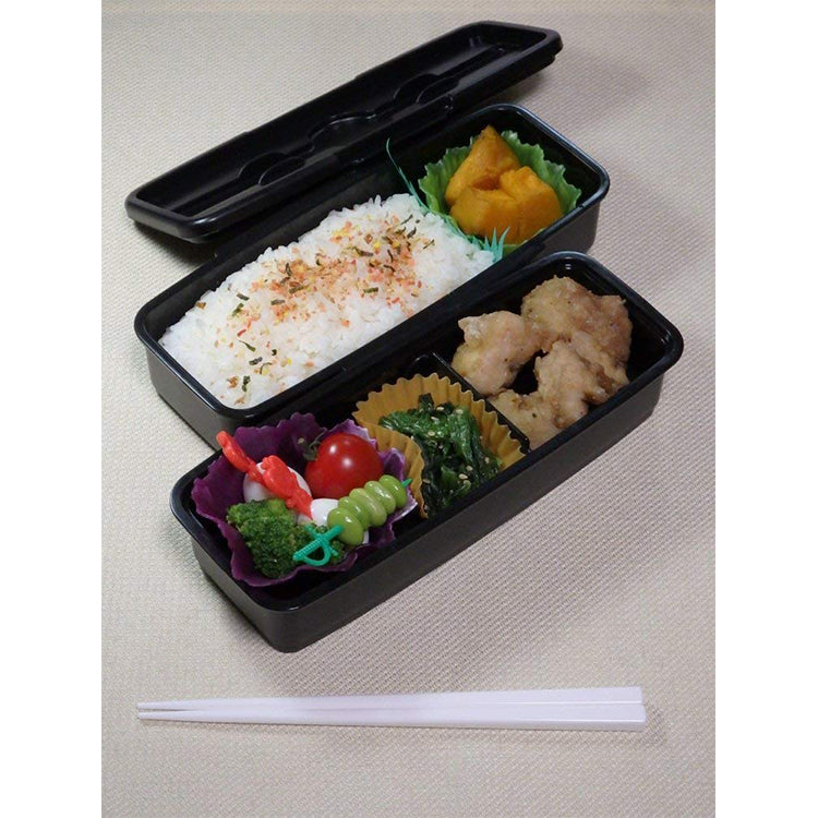 Monotone Stripe Lunch Box Two-Stage (With Partition)