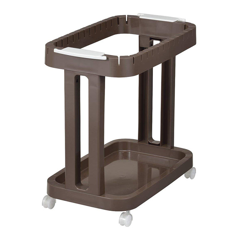 Brown Plastic Bag Holder with Casters - 28 x 48.5 x 47cm