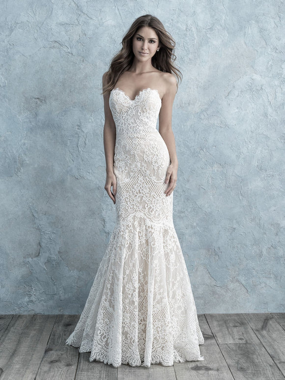 Allure Bridals 9676 | Strapless Lace Wedding Dress