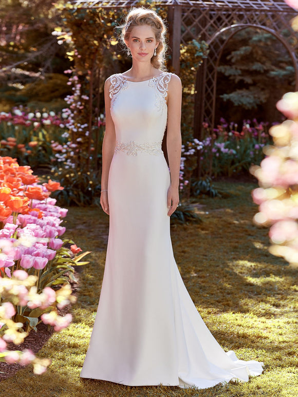 Rebecca Ingram Ada | Crepe Sheath Wedding Dress