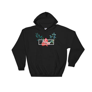 Hibiscus Cursive Box Logo Hoodie - Enhanced Body