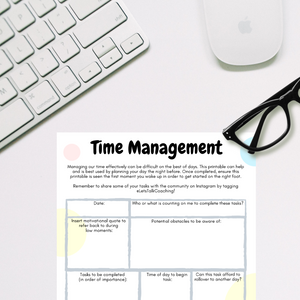 Time Management - A4 Printable - Let's Talk Coaching