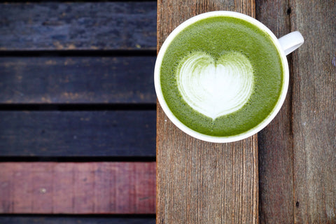 matcha latte heart art
