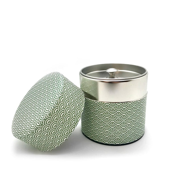aomi green wave canister for tea japanese washi paper