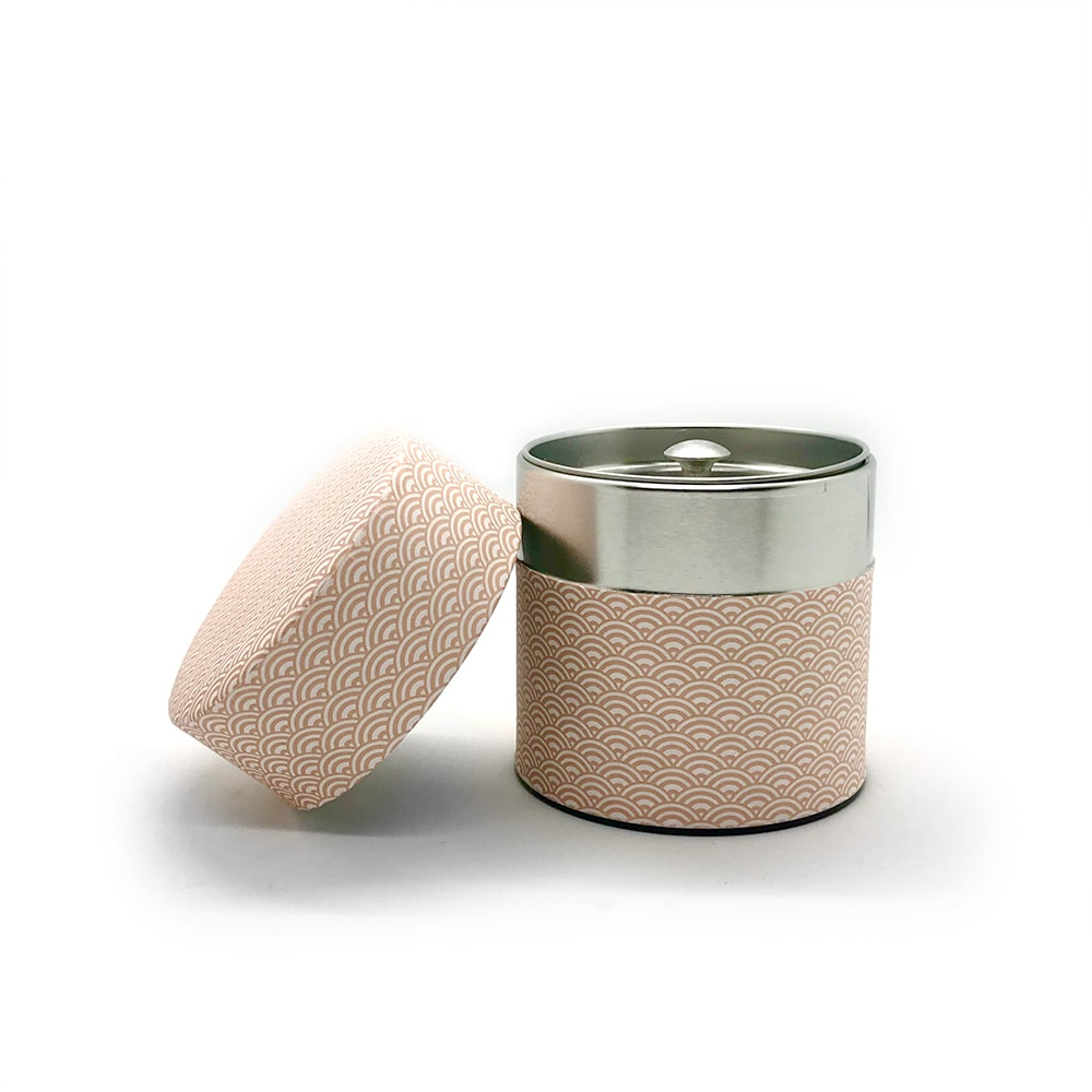 Pink washi wrapped Japanese tea canister