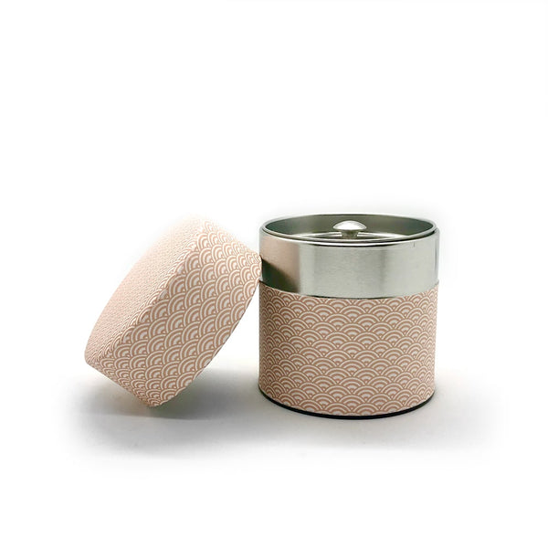 AOMI Pink Wave Washi Wrapped Japanese Tea Canister