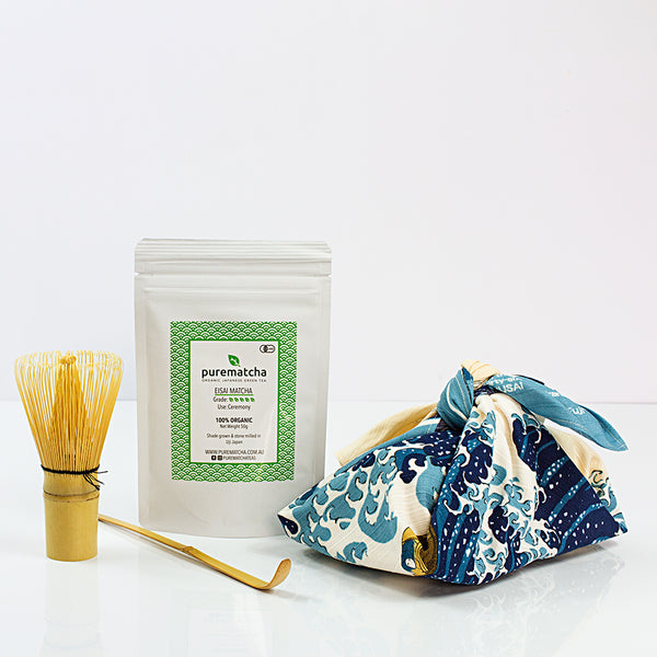 Matcha Furoshiki Great Wave Bamboo whisk and scoop set