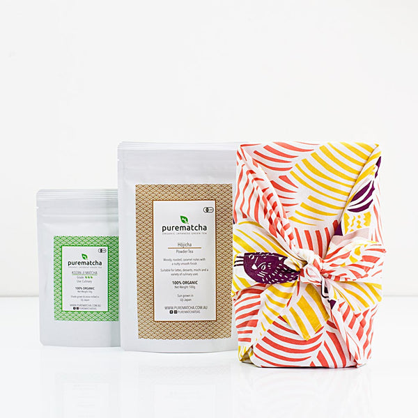 Furoshiki Culinary Matcha and Hojicha Powder Bundle