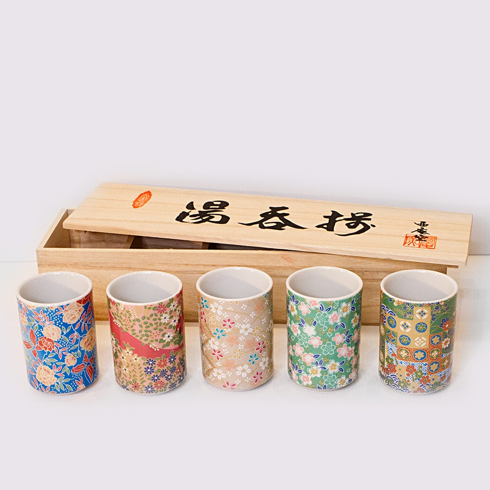 KYO YUZEN 5 Piece Japanese teacup set with Japanese pattern print paulowina wood gift box