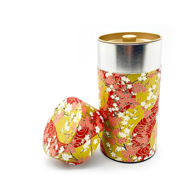 SAKURA Red washi wrapped japanese tea storage canister coffee storage airtight.jpg