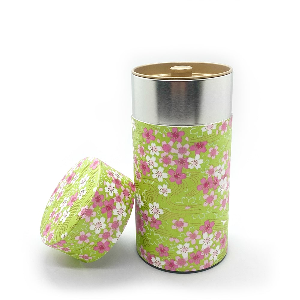 SAKURA green washi wrapped tea coffee canister japanese caddy