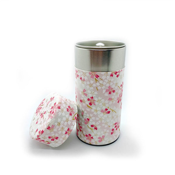 SAKURA Japanese washi paper wrapped tea canister for green tea storage