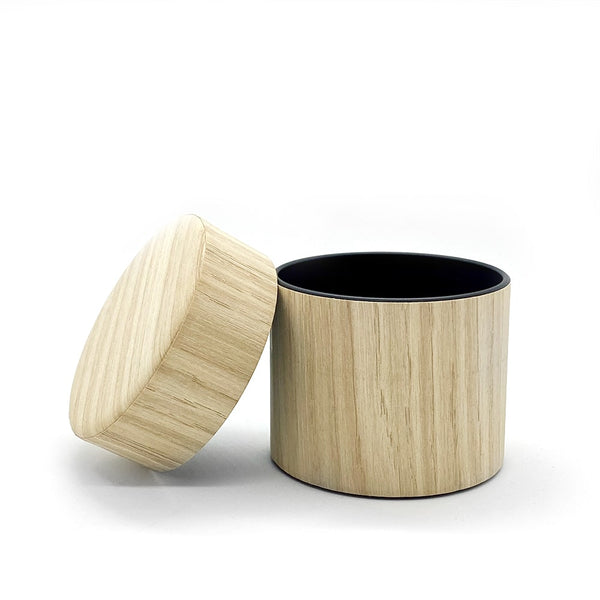 air tight canister oak wood matcha powder tea caddy
