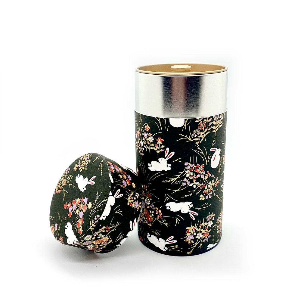USAGI Black Washi Paper Tea coffee sugar tin Canister for food storage