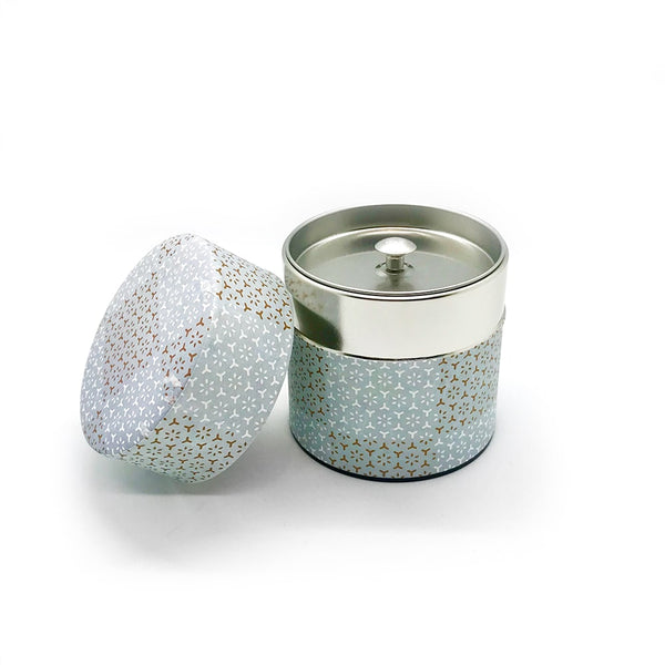 CHEQUERED Blue Washi Wrapped Japanese Matcha Tea Canister