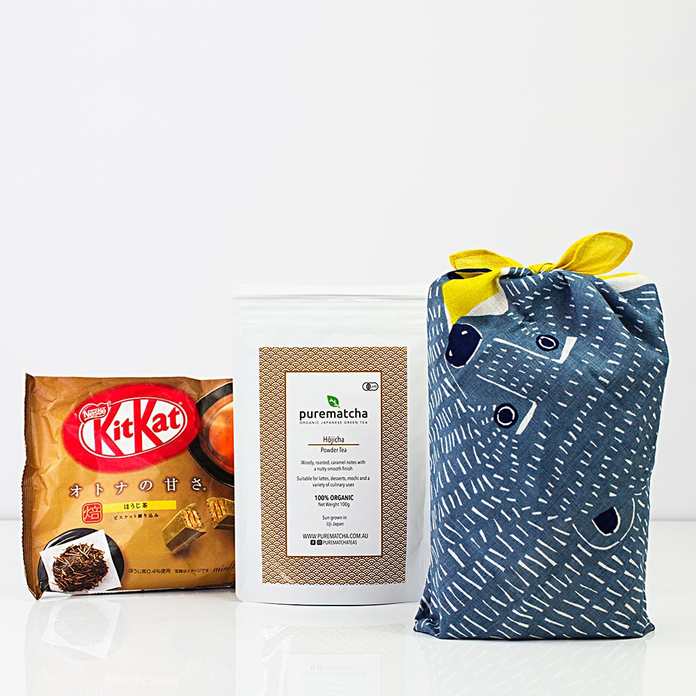 Furoshiki Bear Hojicha Powder and Kit Kat Chocolate Bundle