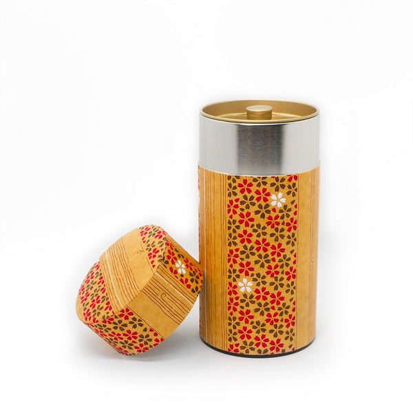 200g Mokuzai washi wrapped tea storage canister for air tight coffee and tea storage