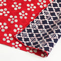 104 Large Reversible Furoshiki Apricot/Pine and Bamboo Red/Navy