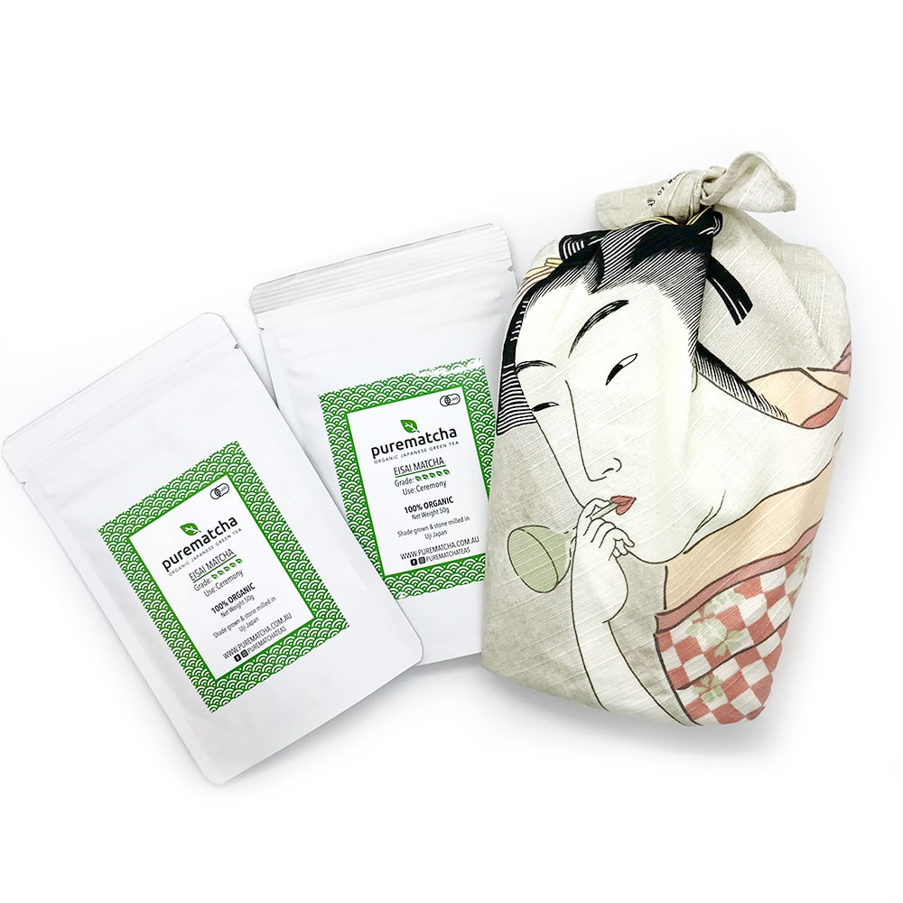 Furoshiki ceremonial matcha powder tea bundle australia purematcha