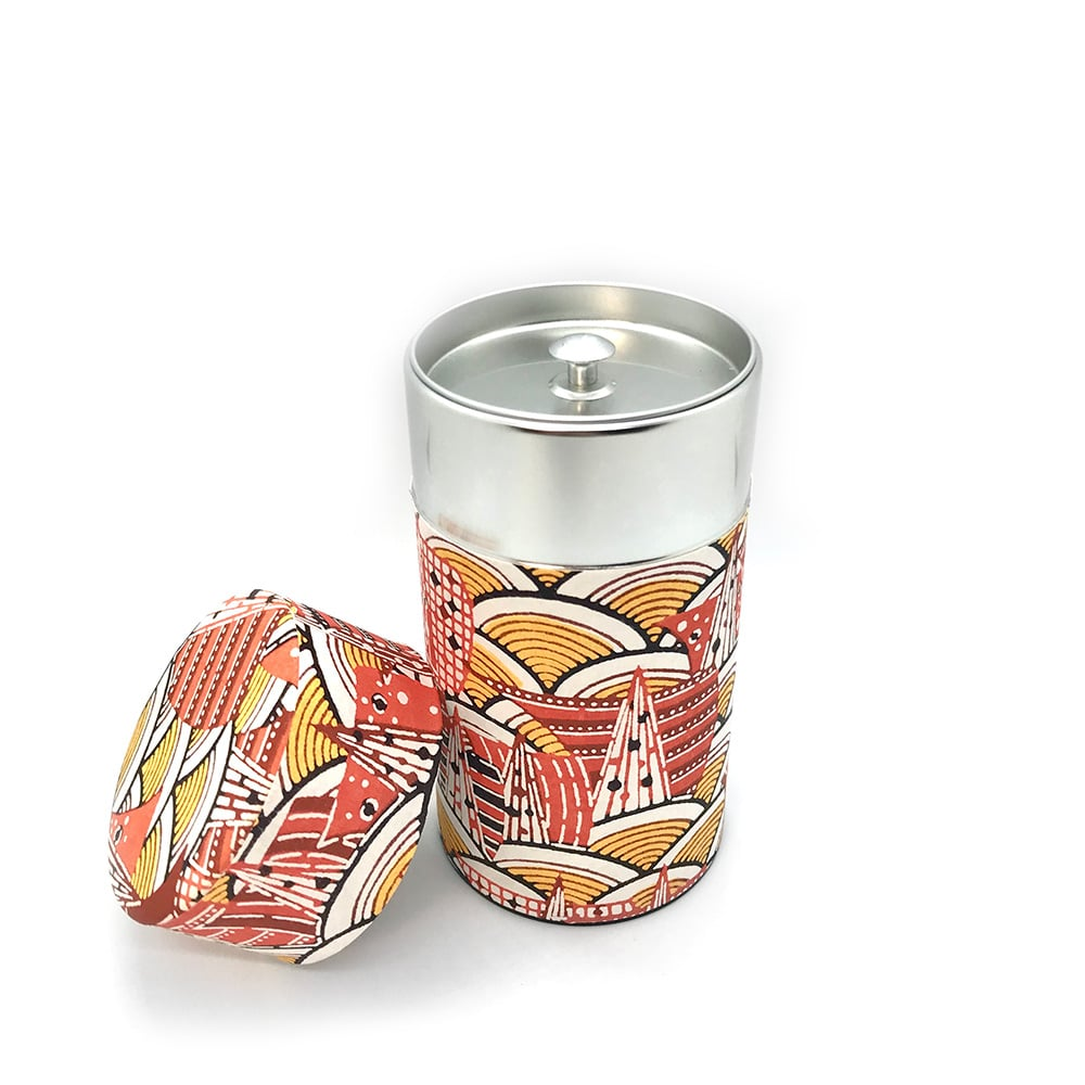 Modern Wave Washi Paper Japanese Tea Canister