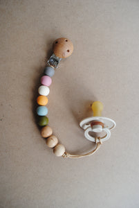 Rainbow -Silicone and wood pacifier clip
