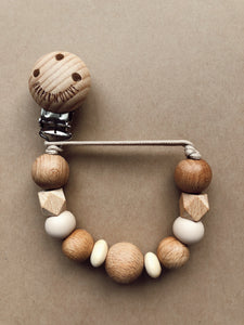 Wood Pacifier Clip- Seth