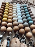 Wood and silicone pacifier clips- Clyde
